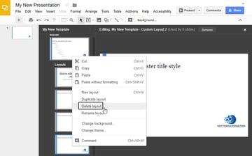 Delete Google Slides Master Layout
