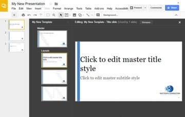Master Layout for Title Slide with Text Left-aligned