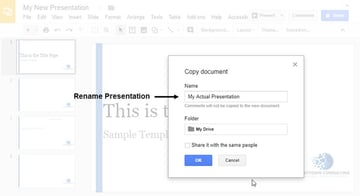 Rename Google Slide Template
