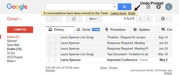 Gmail Undo Delete prompt