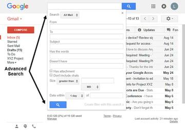 Advanced Search dialog box