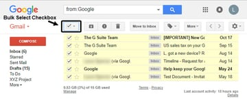 Bulk Select checkbox to mass delete Gmail messages