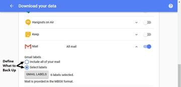 Choose which Gmail labels to back up