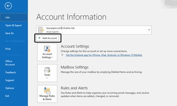 MS Outlook Add Account button