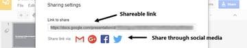 Shareable link for online presentation