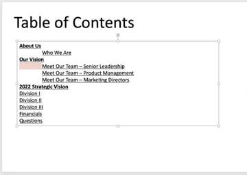 How to make a table of contents in powerPoint