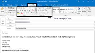Formatting options on the Outlook Format Text tab