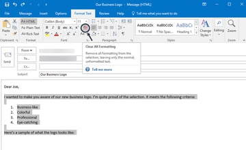 Clear All Formatting icon in Outlook