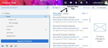Focused tab on Outlookcom