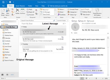 Example of a conversation in Outlook