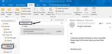 Open folder showing a message inside