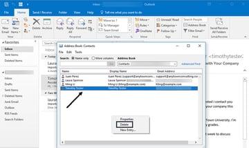 Address book with pop-up menu