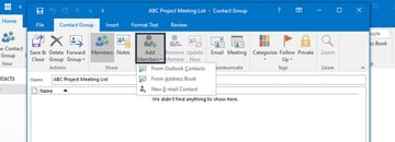 Adding a member to an Outlook Contact Group