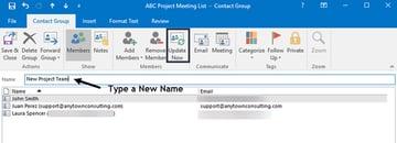 Renaming a contact group