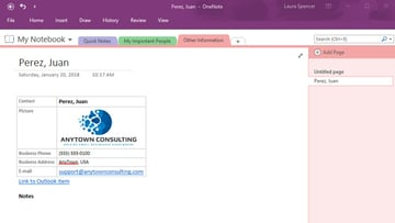 Outlook contact information in MS OneNote