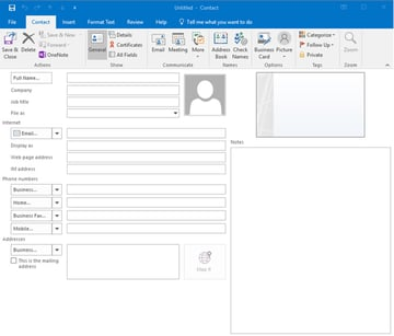 A contact card in the MS Outlook address book