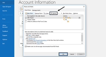 Deleting a rule in MS Outlook