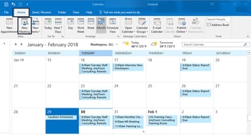 New Meeting icon on the Outlook calendar