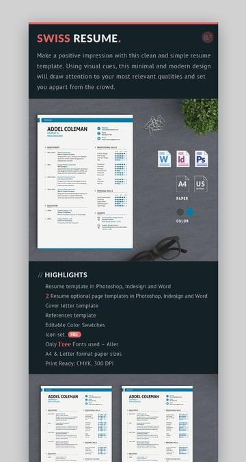 Swiss Resume Template CV Photoshop