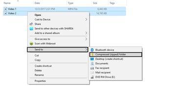 Compressing video files in Windows Explorer