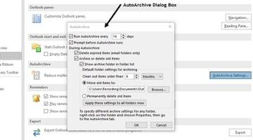 AutoArchive Dialog Box