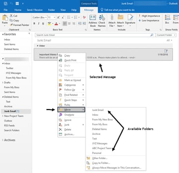 Recover email using the Move tool