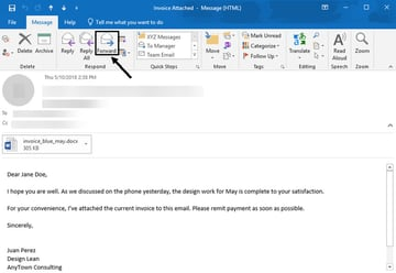 Forward an Outlook email message to back it up