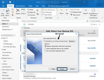 Path where your Outlook PST file will be saved