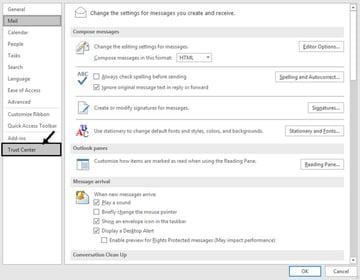 Outlook Options dialog box