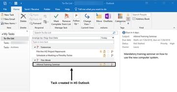 New Outlook Task