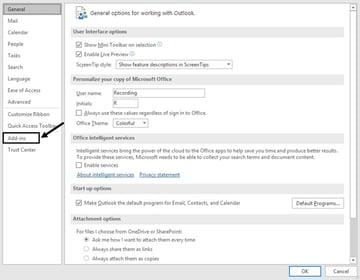 Outlook Options window