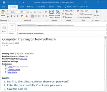 Meeting minutes email