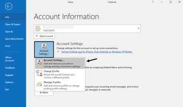 Outlook Account Information Window