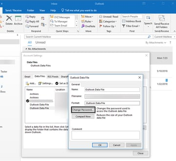 Outlook Data File box