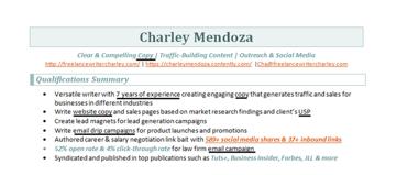 Charley Mendoza copywriter CV