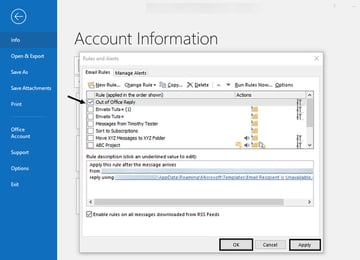 turning off the Outlook out of office message
