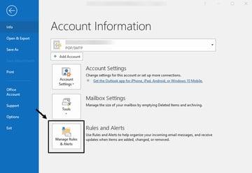 account information screen