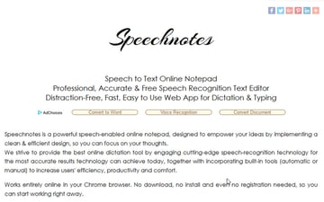 Speechnote dictation app
