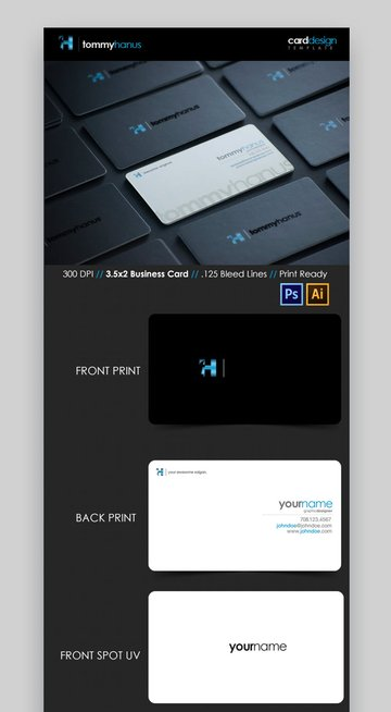 Sleek Modern Business Card Template for Illustrator and Photoshop