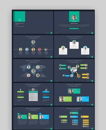 Business organizational chart in PowerPoint