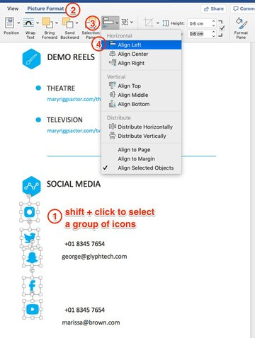 align social icons