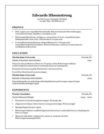Traditional Resume Free Resume Template for Open Office