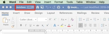 Autosave in Microsoft Office 365