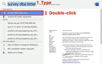 Open a Word File Using Spotlight on a Mac