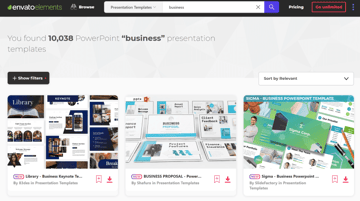 Get unlimited business PowerPoint templates with Envato Elements