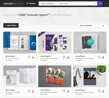 annual report templates on Envato Elements
