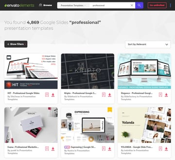 Envato Elements Professional Google Slides templates