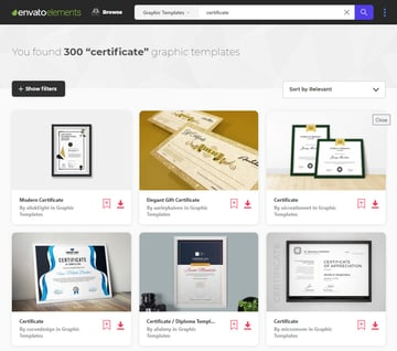 certificate templates for Google Docs from Envato Elements