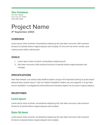 Simple Project Proposal from Google Docs