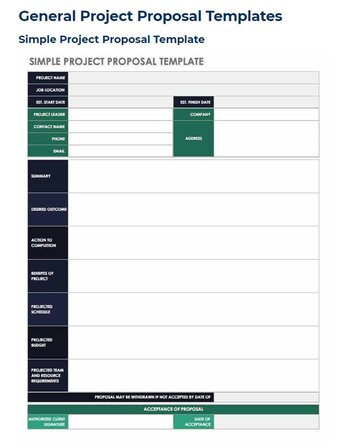 Simple Proposal Template from Smartsheet
